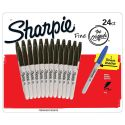 Låda med 24 Sharpie Fine Point Black Markers Plus 1 Blue Marker