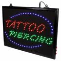 Upphängbar Tatueringssalongs Tattoo+Piercing LED Studio Skylt med Kedja