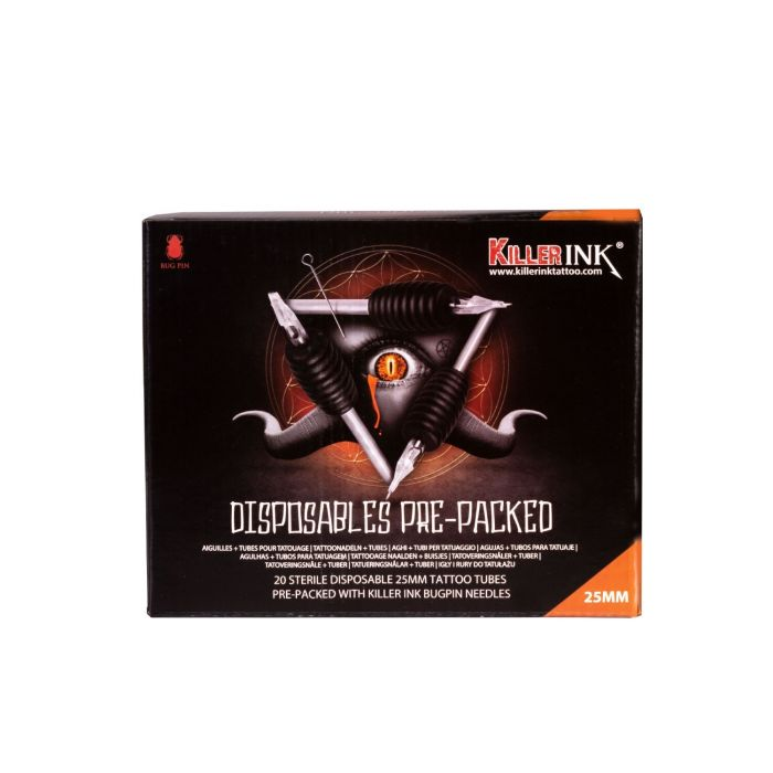 Låda med 20st blandade Killer Ink Engångsgrepp / Tipp 25mm Tuber Färdigpackad med Bug Pin 0.25MM Nålar