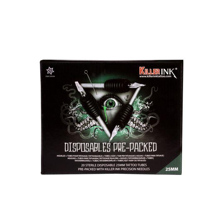 Låda med 20st Blandade Killer Ink Engångsgrepp / Tipp 25mm Tuber Färdigpackad med Killer Ink Precision Nålar