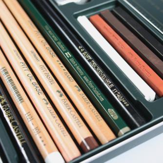 Faber-Castell - Pitt Set, Metall Låda med 12 Artiklar